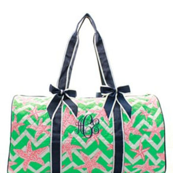 Starfish Print Quilted Duffel Bag