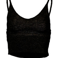 Knitted crop tank top black