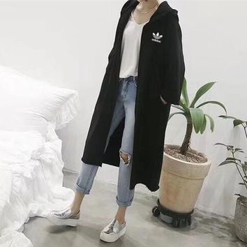 """Adidas"" Women Simple Casual Solid Color Loose Long Section Long Sleeve Cardigan Hooded Sweater Windbreaker Coat"