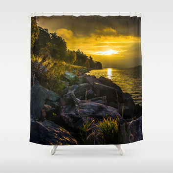 Morning Gold II Shower Curtain by HappyMelvin