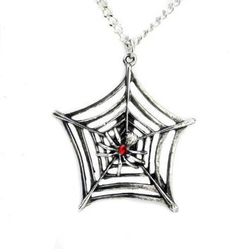 Spider Web Gothic Necklace Halloween Pendant Jewelry