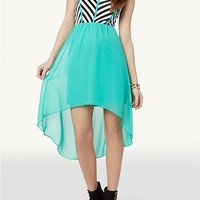 Chevron High Low Dress