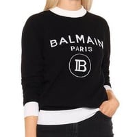 BALMAIN Autumn Winter Popular Women Letter Jacquard Long Sleeve Knit Sweater Sweatshirt