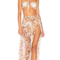For Love & Lemons Havana Chiffon Skirt in Floral
