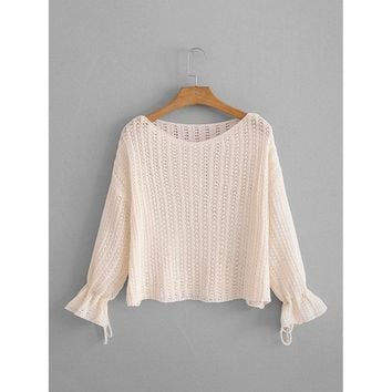 Drop Shoulder Open-Knit Jumper