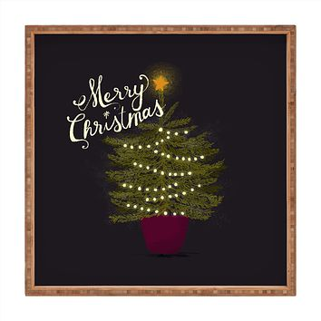 Joy Laforme Merry Christmas Little Tree Square Tray