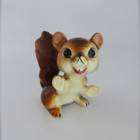 Squirrel Figurine, Porcelain Squirrel, Small Squirrel Figure, Smiling Squirrel