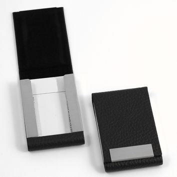 Business Card Case. Black Leather, T.P.
