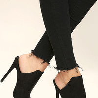Effortless Stride Black Suede Peep Toe Mules