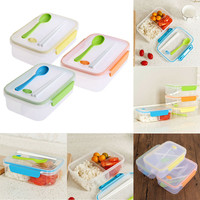 Large Capacity Transparent Three Compartments Lunch Bento Food  Box Snack Container Storage lunchbox FEN#