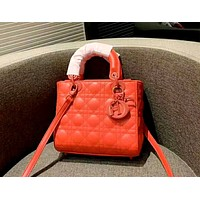 Dior 2019 new rhombic chain bag shoulder diagonal cross bag Red
