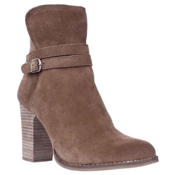Lucky Brand Latonya Block Heel Ankle Boots, Honey, 7.5 US / 37.5 EU