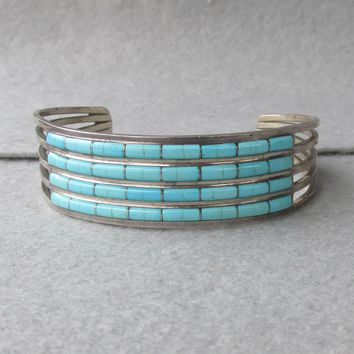 Signed Anson & Letitia Wallace Vintage Native American Zuni 4 Row Inlaid Turquoise Sterling Silver Cuff Bracelet