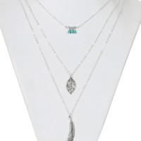 Silver Pearl Leaf And Feather Pendant Necklace