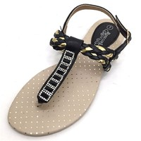 Womens Gladiator Sandals Roman Flats T-Strap Thongs Flip Flop Sparkle Shoes New