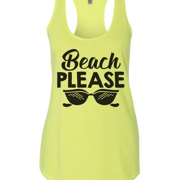 Beach Please Womens Workout Tank Top