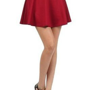 Sexy High Waist Short Jersey Plain Flared Pleated A-Line Skater Mini Skirt