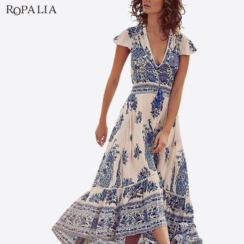 ROPALIA Women Summer Vintage Dress Short Sleeve Chiffon Deep V Gypsy Floral Hippie Boho Long Maxi Beach Split Dresses Vestido