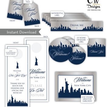 "INSTANT download. 6 Wedding Welcome Bag Labels and or Tags. Water Bottle Label, Thank You Tags, Door Hanger, Gable Box Label, 2.5"" sticker"
