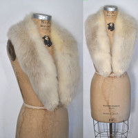 Fox Fur Collar / cream and gray / bridal wedding