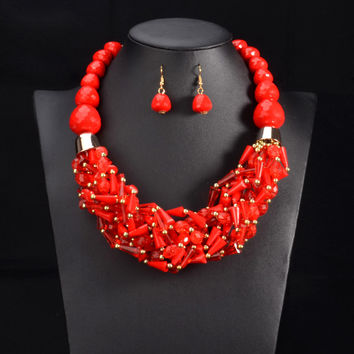 Multi color African Beads Jewelry Sets Red Chain Chunky Indian Wedding Necklace Handmade Weave Crystal Collar Vintage