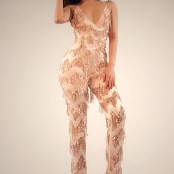 Red Carpet Fringe Jumpsuit(Limited Stock)