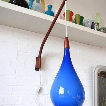 Rare Vintage Large Danish Modernist Holmegaard Blue Glass & Teak Wall Light Lamp