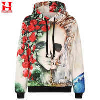 Headbook Europe America fashion brand hoodies men/women 3d sweatshirts flower print rose smoking skulls hooded hoody tracksuits