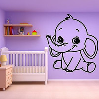 Wall Sticker Vinyl Decal For Kids Room Baby Elephant Nursery Animal (ig647)