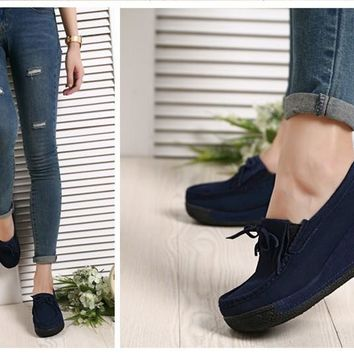 Women platform shoes casual shoes women leather suede wedges flats  boots