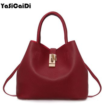 YASICAIDI Fashion Women Leather Handbags Mobile Messenger Ladies Handbag PU Leather High Quality Diagonal Cross Buns Mother Bag