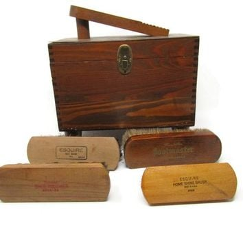 Vintage Oak Shoe Shine Box Mid Century Mad Men