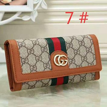 GUCCI Fashion new more letter stripe contrast color wallet women leisure clutch bag Brown