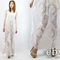 Handmade Vintage 70s Floral Lace Maxi Dress Hippie Wedding Dress Boho Wedding Dress Hippy Wedding Dress S M Hippie Dress White Dress