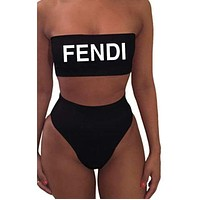 FENDI Summer Fashion New High Waisted Letter Print Strapless Two Piece Bandeau Swimsuit Bikini
