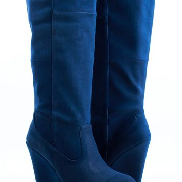 NAVY NUBUCK FAUX LEATHER KNEE HIGH WEDGE BOOTS