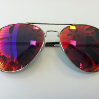 Rave Light Show Glasses - Red mirrored aviator