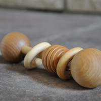 Organic Wooden Honeycomb Rattle - A Waldorf and Montessori Inspired Baby and Toddler Toy