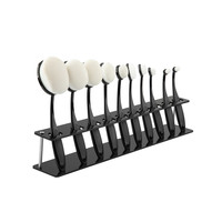 10 PCS Oval Brush Storage Organizer Black Sturdy Clear Acrylic Cosmetic Display