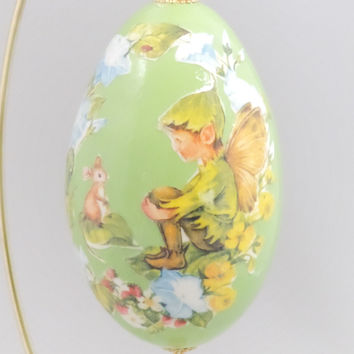 Woodland Elf with Mouse Ornament Fairy Elf with Mouse Egg Ornament Home Decor Faberge Style Decorated Egg Art