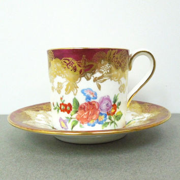 Hammersley Bone China demitasse cup and saucer - ruby-red gold floral demitasse - Made in England