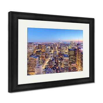 Framed Print, New York City Midtown With Empire State Building At Amazing Suns