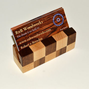 Checkered and Solid Wood Business Card Holder
