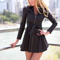Zip Tie Front  A-Line Dress