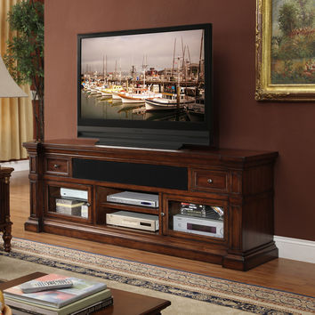 Berkshire 76 Inch Entertainment Cabinet TV Stand Distressed Umber