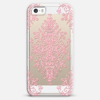 Pink Lace Baroque Doodle on Transparent iPhone 5s case by Micklyn Le Feuvre | Casetify