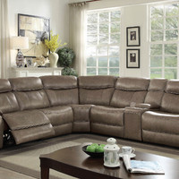 Furniture of america CM6566-6PC-PM 6 pc Page grey top grain leather match sectional sofa with power motion recliners