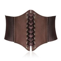 HOTER® Lace-up Corset Style Elastic Cinch Belt -COFFEE