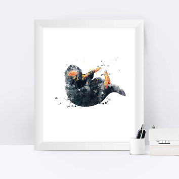 Niffler Print The Niffler Watercolor Fantastic Beasts Where to Find Them Newt Scamander Harry Potter Gift Art Hogwarts Instant Download