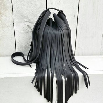 Boho Black Leather Fringed Purse / Black Leather Purse / Fringe Handbag / Black Leather Crossbody / Black Crossbody